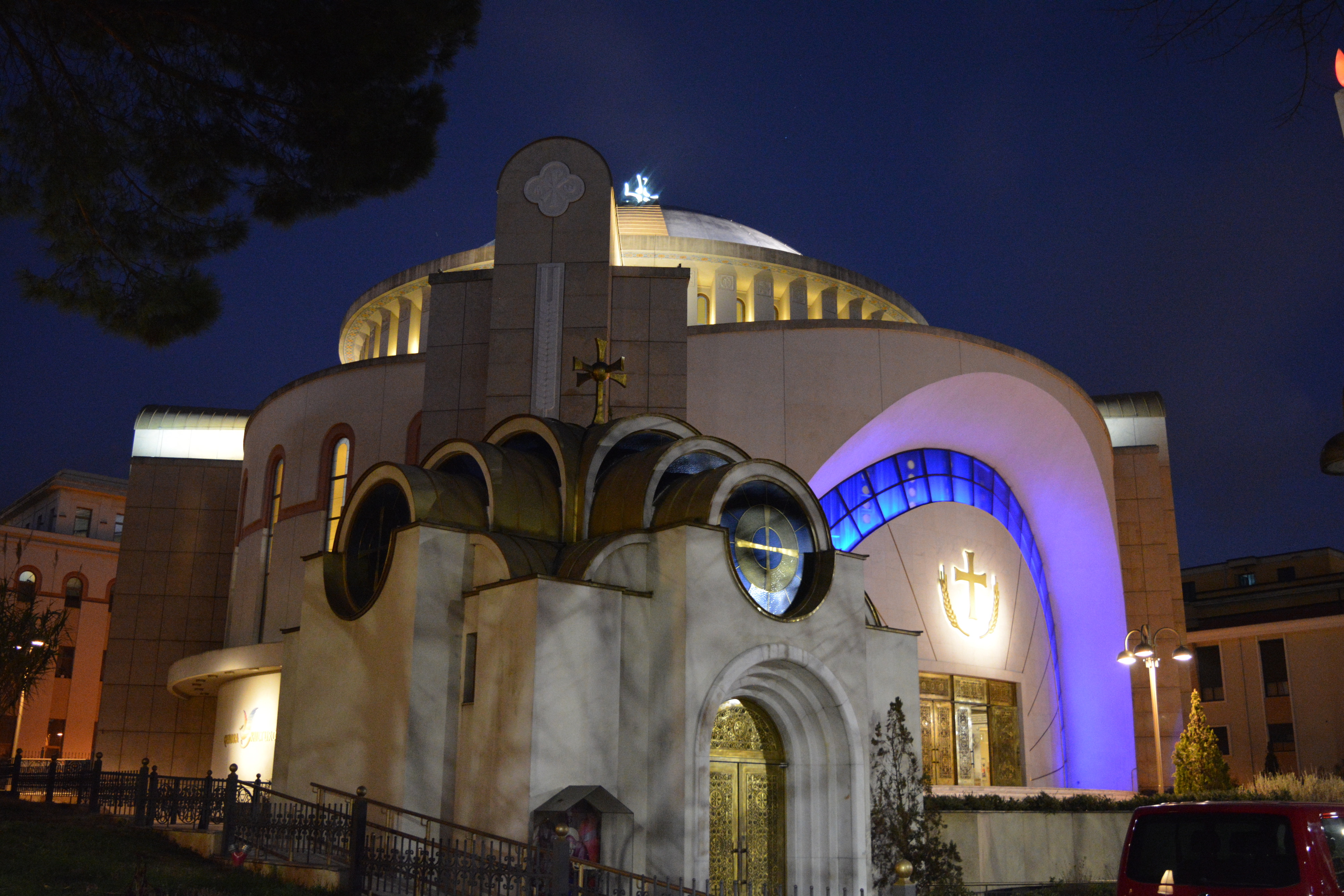 The Ressurection Cathedral in Tirana by night