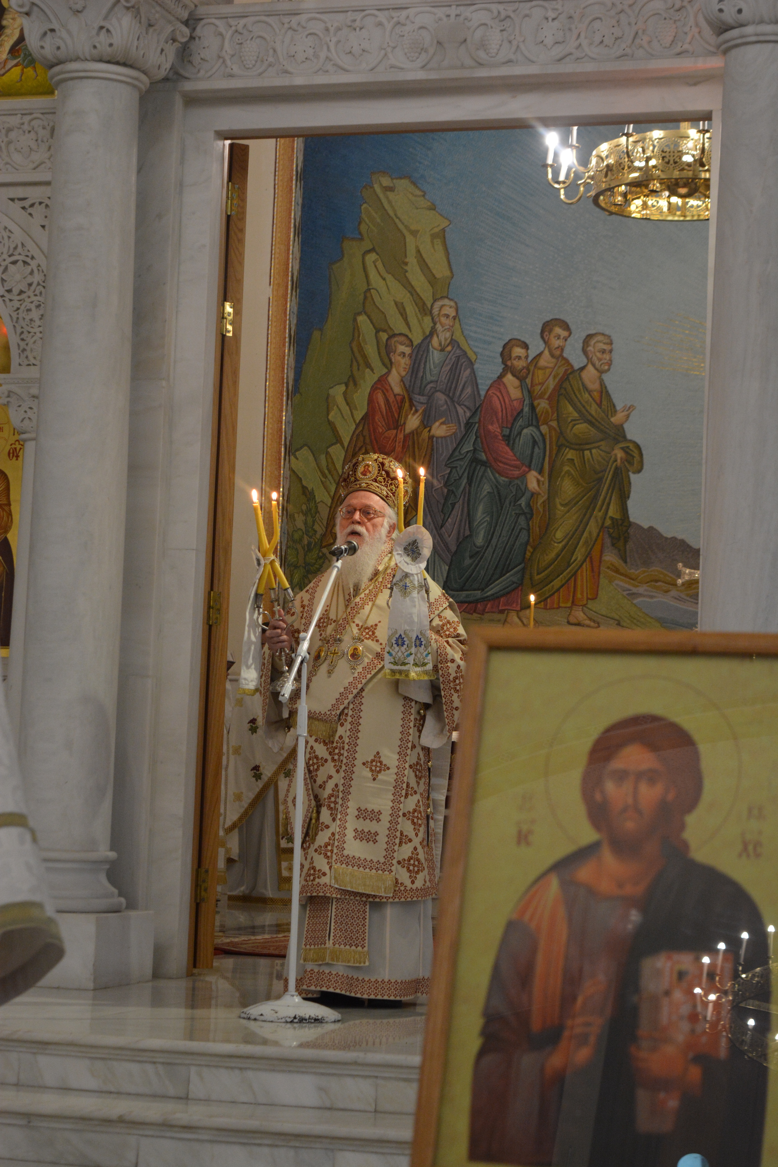 Archbishop Anastasios, blessing the people